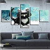PULUKESns Decoración del hogar para la Sala de Estar Impresiones HD 5 Piezas Animal Encantador Gato Paisaje Pintura Pared Arte póster imágenes Marco de Lienzo Modular