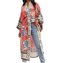 Tyidalin Cárdigans Mujer Estampado Maxi Largo Vestido Playa Verano Kimono Rayón Camisolas y Pareos Bohemio (Color 6, Talla única)