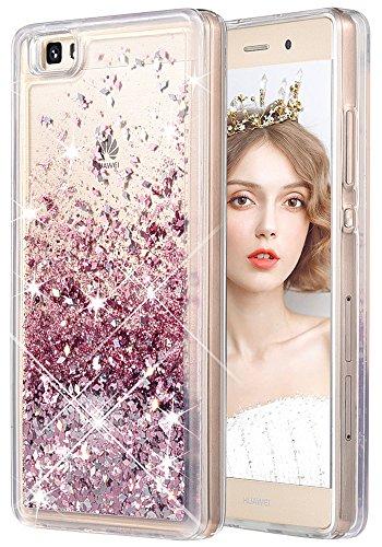 wlooo Funda para Huawei P8 Lite, Glitter liquida Cristal Silicona 3D Bling Flowing Sparkly Cute Transparente Cover Protector Suave TPU Bumper Case Brillante Arena movediza Carcasa (Oro Rosa)