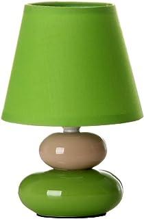 Lámpara de mesita de noche de cerámica verde de 15x22 cm.