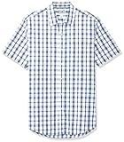 Amazon Essentials – Camisa de popelín de manga corta de corte entallado para hombre, blanco, azul, a cuadros (White/Blue Plaid), US L (EU L)