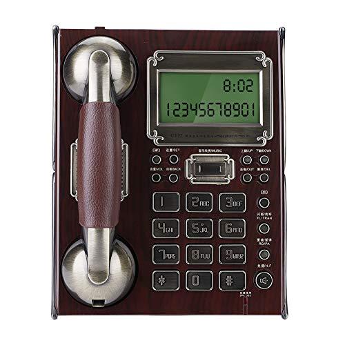 Telefono con Filo retrò, Telefono Fisso Europeo Antico Vintage Fisso con Numero di quadrante, sveglie Multiple e Controllo del Volume per la Scuola alberghiera a casa(Rosso)