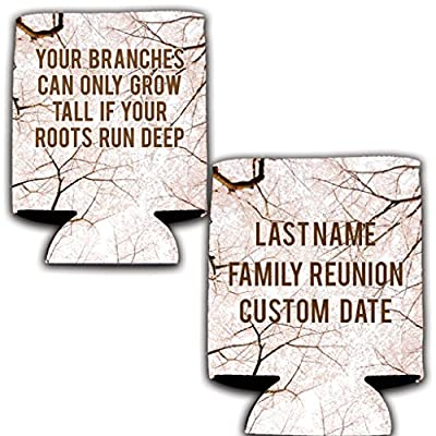 """VictoryStore Can and Beverage Coolers - Custom Family Reunion,""""Your Branches Can Only Grow Tall If Your Roots Run Deep"""" Design, Set of 25"""