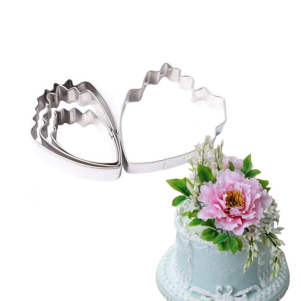 KALAIEN 5-Piece Peony Fondant Cutters Set Sugarcraft Modeling Tools Kit for Cake Decoration Green