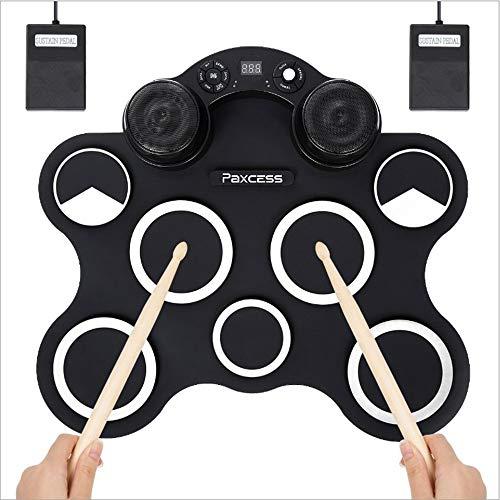 SELMAL USB Hand Roll Up Drum, tragbares elektronisches Schlagzeug, integrierter Doppellautsprecher, faltbares digitales Übungs-Schlagzeug für Kinder, Anfänger