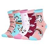 HommyFine - Calcetines de algodón para niña, diseño de unicornio, 5 pares