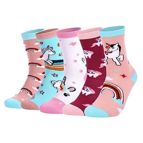 HommyFine Calcetines para niña con Dibujos de Unicornio Niña Calcetines de Invierno Lindo Calcetines de Divertidos Ocasionales, Calcetines Vistosos para Chicas de 3-12 Años, 5 pares