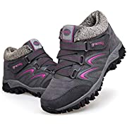 gracosy Women's Hiking Shoes, High Top Sneaker Winter Warm Hook Loop Snow Shoes Fur Lining Suede Ankle Bootie