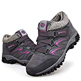 gracosy Women's Hiking Shoes, High Top Sneaker Winter Warm Hook Loop Snow Shoes Fur Lining Suede Ankle Bootie Grey 7.5 M US