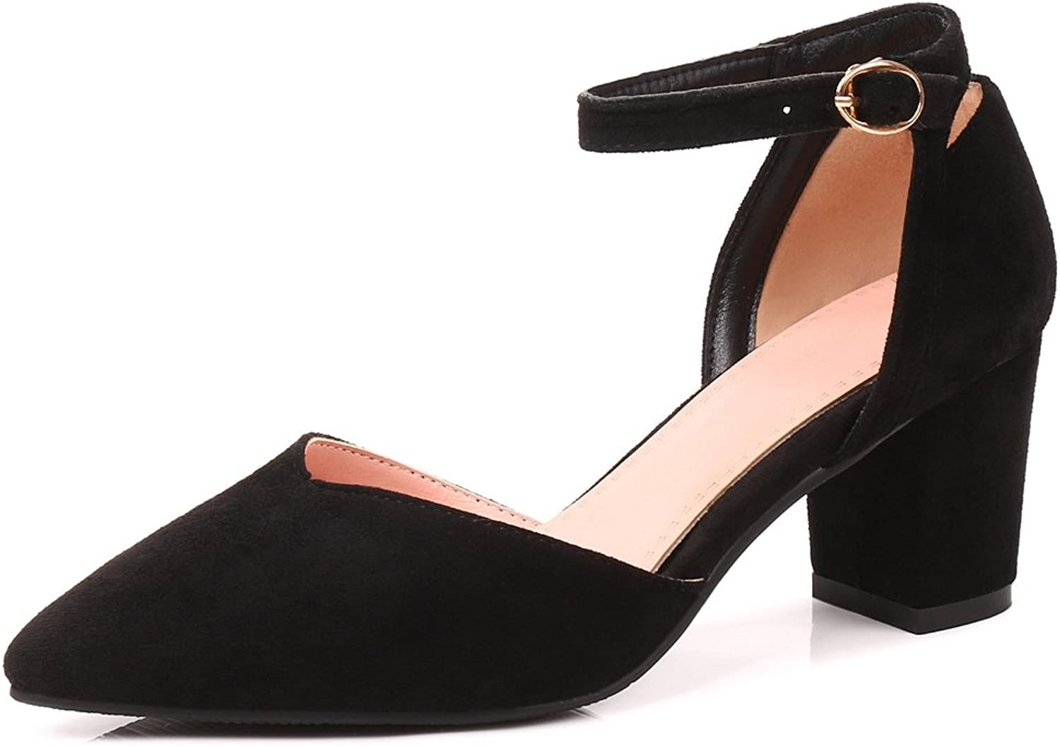 SaraIris Women's Chunky High Heel Pointed Toe Heels D'Orsay Casual Ankle Strap Pumps