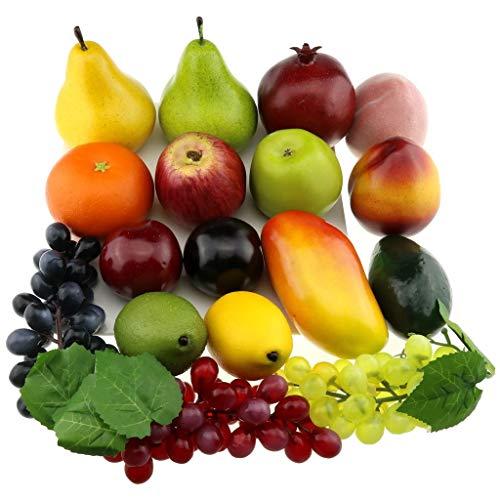 Gresorth Fälschung Gemischt Frucht Obst Künstlich Apfel Pfirsich Orange Traube Mango Zitrone Kiwi Dekoration