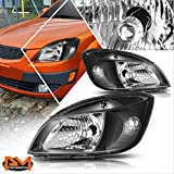 Direct Replacement Headlight Assembly Compatible with Kia Rio 5 06-08 Headlamps with Black Housing Clear Corner