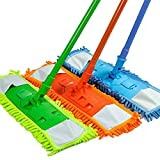 LavoHome Super Absorbent Microfiber Noodle Dust Mop (Assorted Colors) with Telescoping Pole - Absorbs 3X its Weight!