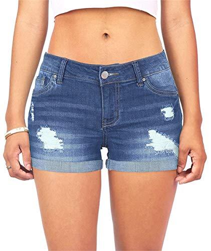 MODARANI Folded Hem Shorts for Women Juniors Blue Jean Shorts Cute Frayed Denim Shorts Stretchy M
