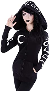 ZJSWCP Sweatshirt Women Hooded Black Moon Print Casual Hoodies Gothic Dark Cool Chic Black Plus Size