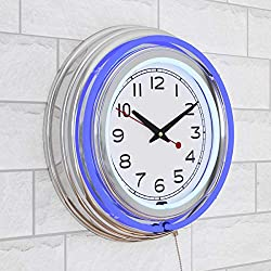 Lavish Home Retro Neon Wall Clock - Battery Operated Wall Clock Vintage Bar Garage Kitchen Game Room – 14 Inch Round Analog (Blue and White)