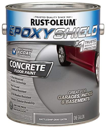 Rust-Oleum 225380 Concrete and Garage Floor Paint, Battleship Gray Satin, 1-Gallon