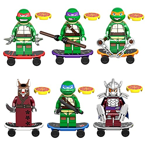 t Tortugas Ninja Juguetes 6 Piezas Figuras de Acción Leo Raph Donnie Mikey Splinter Shredder TMNT Juego Muñecos Figuras Colecciones Estatua Modelo Regalo para Niños 6 PCS-4.5cm