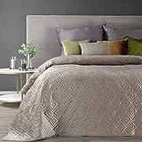 Eurofirany Weiche Tagesdecke Gesteppte Decke Ganzjährige Bettüberwurf Steppung Muster Samt Einfarbige Steppdecke Quilt (Ariel 3 Beige, 220 X 240 cm)