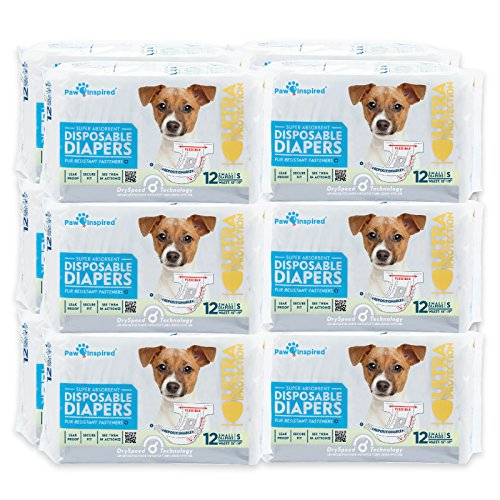 Paw Inspired Disposable Dog Diapers | Female Dog Diapers Ultra Protection |Puppy Diapers, Diapers for Dogs in Heat, or Dog Incontinence Diapers (144 Count, Small)