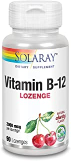 Solaray Vitamin B-12 2000 mcg | No Sugar, Natural Cherry Flavor | Healthy Energy & Red Blood Cell Support | 90 Lozenges
