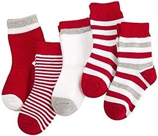CAOLATOR, 5 pares Calcetines para Niños Niñas Medias Algodón Caliente Calcetines para Bebés Calcetines sin Costuras de algodón Transpirable Antibacteriano y Sin Olor 1-2Años