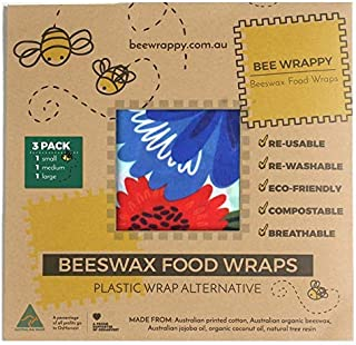 Beeswax Food Wraps 3-Pack by Bee Wrappy -Tested to FDA Standards Australian Made – 1 Small (6.7