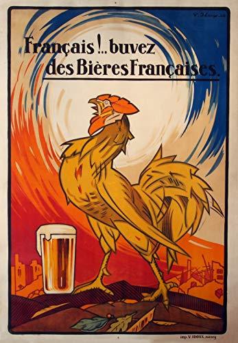 Vintage bieren, wijnen en sterke drank 'Bieren Frans', 1929, 250gsm Zacht-Satijn Laagglans Reproductie A3 Poster