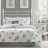 Harbor House Cozy Cotton Comforter Set-Coastal All Season Down Alternative Casual Bedding with Matching Shams, Decorative Pillows, Queen(92'x96'), Beach House, Reversible Seashell Blue, 4 Piece
