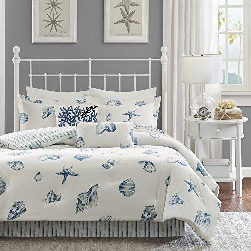 "Harbor House Cozy Cotton Comforter Set-Coastal All Season Down Alternative Casual Bedding with Matching Shams, Decorative Pillows, Twin(72""x90""), Beach House, Reversible Seashell Blue, 3 Piece"