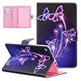 UGOcase Case for All-New Amazon Fire HD 10 Tablet (9th/7th/5th Generation,2019/2017/2015 Release), PU Leather Slim Stand Cards Holder Folding Magnetic Closure Wallet Cover, Purple Butterfly
