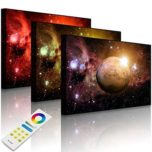 Lightbox-Multicolor | Leuchtbilder für die Wand | Planet Mars im Universum | 80x60 cm | Front Lighted