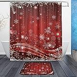 HATESAH Rideau de douche pied coussin combinaison Etanche Résistant à la moisissure avec crochets Salle de bain,Perle de pétales de flocon de neige de Noël suspendus Dream Polka Dots Merry Jolly Theme