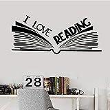 42X97Cm Me Encanta Leer Palabras Calcomanías De Pared Libro Librería Biblioteca Sala De Lectura Pegatinas De Pared Arte Mural Para Papel Tapiz De Aula