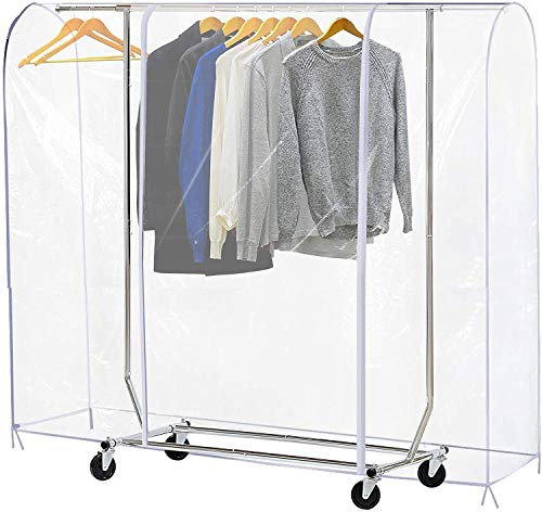 71 L Clear Garment Rack Cover, Clothes Rack Covers, Adult Clothing Protector with 2 Durable Zipper,Waterproof/Dustproof/Foldable Design (L:71x20x52 inch)