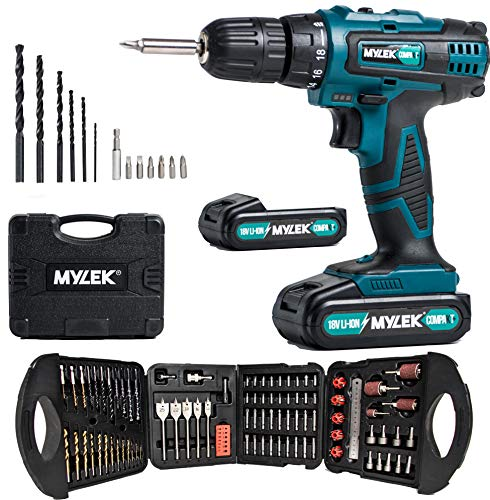 MYLEK 18V Cordless Drill Driver Electric Lithium-ion Set 131 Piece Combi Accessory Kit - LED Worklight with 2 Batteries (2 Speed Drill - Fast Charge)