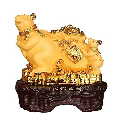 Decorazione Feng ShuiFeng Shui Zodiaco cinese Anno del ratto/topo Resina dorata Figurine da collezione Anno nuovo Decorazione fortunata Per fortuna e ricchezza Decorazioni perfette per interni