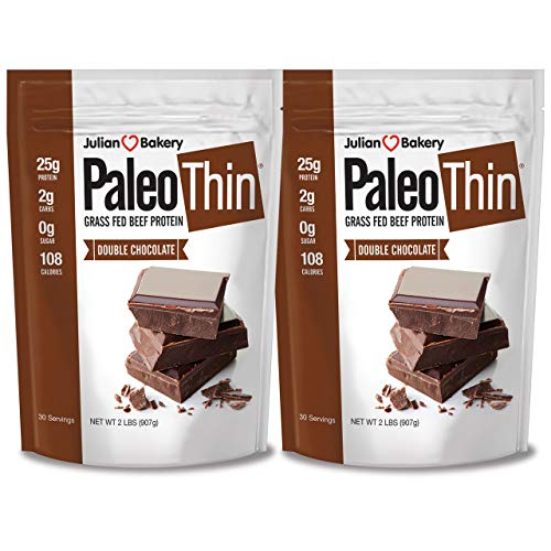 Julian Bakery Paleo Thin Protein Powder | Double Chocolate | Grass-Fed Beef Protein | 25g Protein | 2 Net Carbs | 4 LBS | 60 Servings | 2 Pack