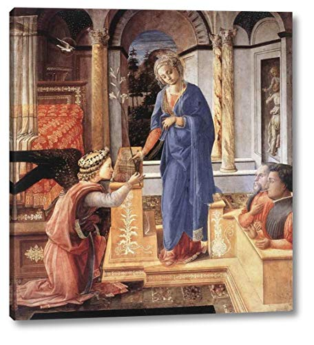 """The Annunciation with Two Kneeling Donors by Fra Filippo Lippi - 15"""" x 16"""" Gallery Wrap Canvas Art Print - Ready to Hang"""