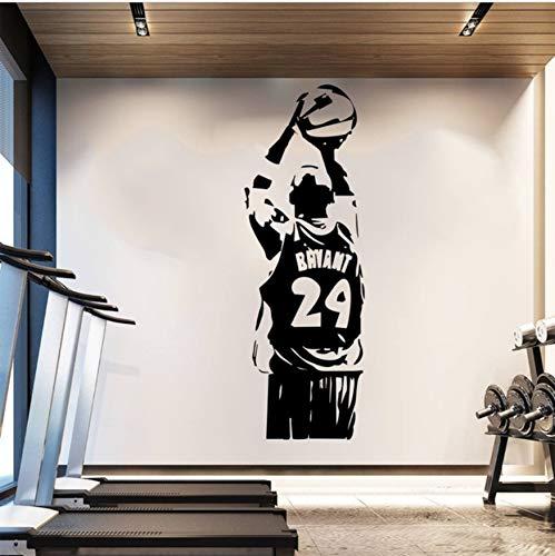 HLLCY Adesivo da Parete Carta da Parati NBA Kobe Poster di Pallacanestro Adesivo da Camera in PVC Sport Man Decalcomanie da Muro Nero Mamba 42X124Cm