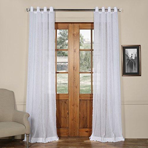 HPD Half Price Drapes SHCH-SS07161-120-GR Grommet Solid Faux Linen Sheer Curtain (1 Panel), 50 X 120, Aspen White