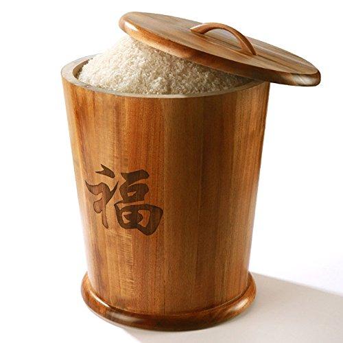 ZWL Tonneau de stockage de grain, baril de riz en bois solide Baril de stockage de céréales Tonneau de lutte antiparasitaire Préservation de l'humidité Cuisine Stockage de grain de ménage Rangement de baril 10-25kg Récipient sain de stockage de céréales ( Capacité : 25kg )