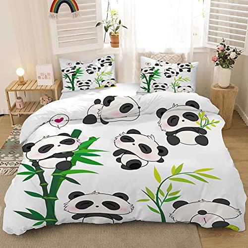 copripiumino animali MUSOLEI - Set di biancheria da letto per bambini con motivo panda e panda in bambù