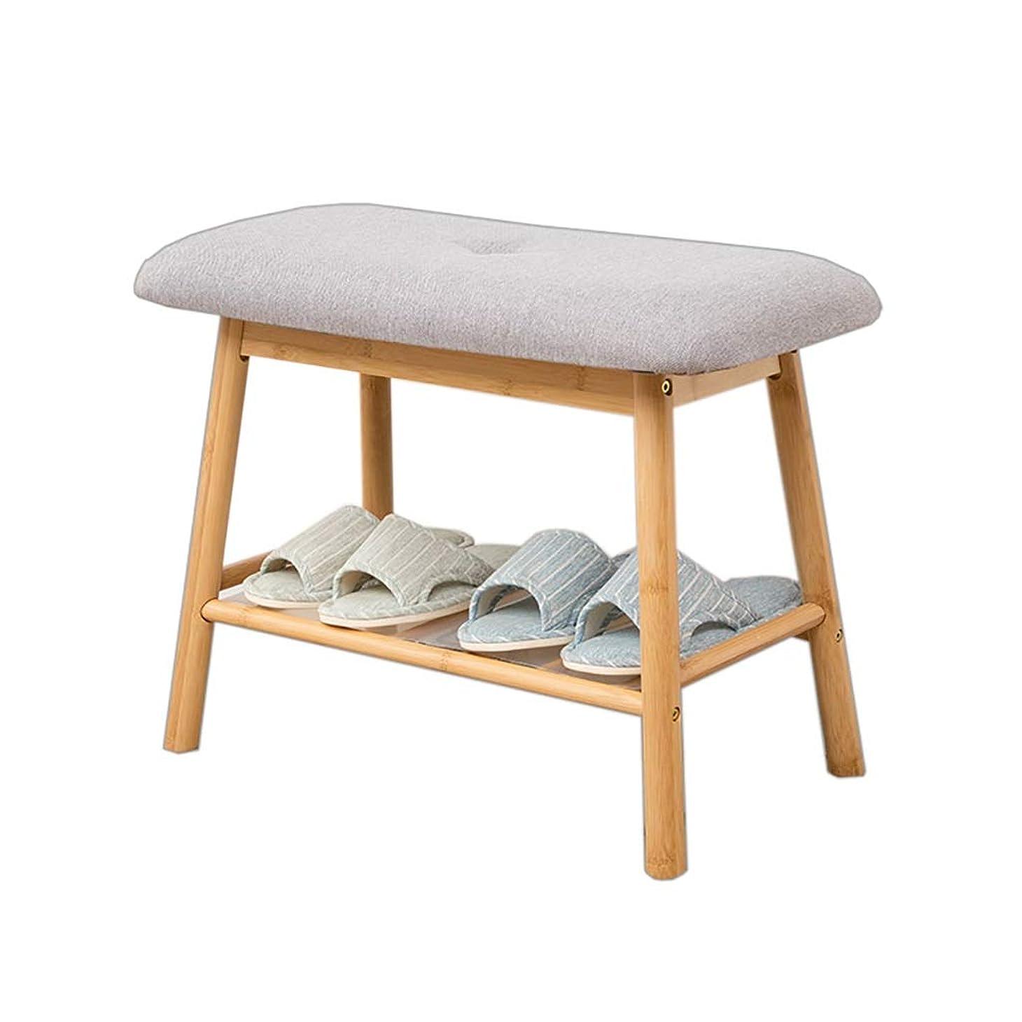 複製パワーどきどき靴のベンチを変更 - 木製の靴の綿パッド収納ラック - 入り口の廊下の靴ラック (Color : A, Size : 61*30*45cm)