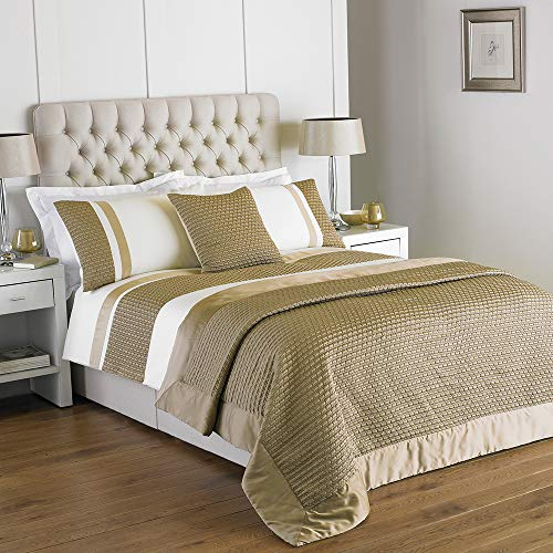 Honeycomb Cream & Gold Duvet Cover Set - Single by Yorkshire Linen