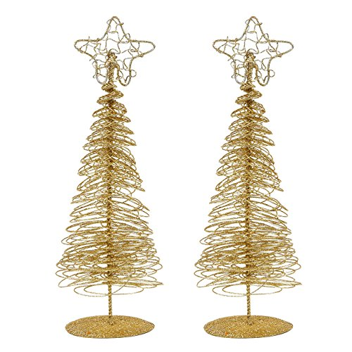 Mini Gold Christmas Trees Tabletop Holiday Decor (10.5 x 3 x 3 in, 2 Pack)