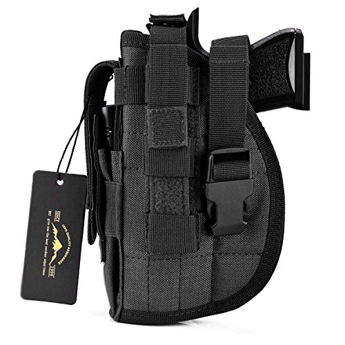 DYJ Left Hand Tactical Pistol/Gun Holster with Magazine Pouch/Pocket for S&W M&P Shield Glock 26 27 29 30 33 42 43(Black-Left Hand)