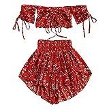 ZAFUL - Conjunto de pantalón Corto para Mujer con Cintura Alta, sin Hombros, diseño Floral Kastanienrot S