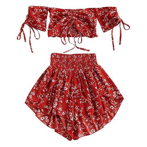 ZAFUL Damen Floral Schulterfrei Smocked Shorts Set Blume Cinched Top Suit Kastanienrot S