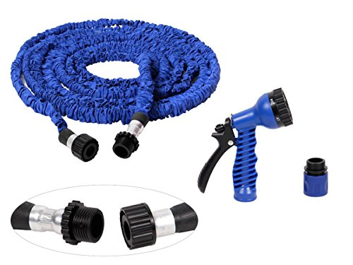 Alsino Gartenschlauch flexibel Wasserschlauch dehnbar 2,5 m - 30 m 1/2' flexibel mit Multifunktionskopf, Variante wählen:MS-01 blau 2.5 m - 7.5 m